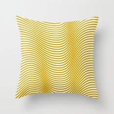 Golden Waves Throw Pillow