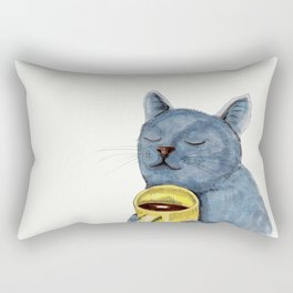 Cat and coffee watercolor, blue cat mug, cat painting, kitty art Rectangular Pillow