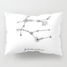 Gemini Floral Zodiac Constellation Pillow Sham