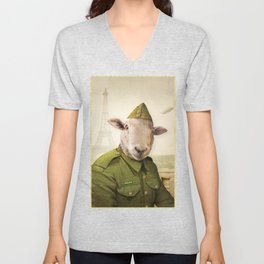 Private Leonard Lamb visits Paris Unisex V-Neck