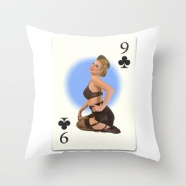 """Nine of Clubs"" - Playful Pinup Girl - Retro Vintage Playing Card Pinup Throw Pillow"