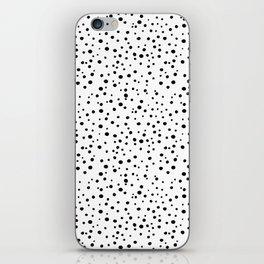 PolkaDots-Black on White iPhone Skin