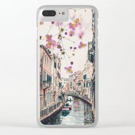 Venice Floral Sky Clear iPhone Case
