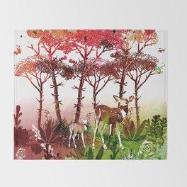 Deer Forest Watercolor Design Throw Blanket