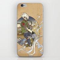 kakashi iPhone & iPod Skins featuring Woodblock Kakashi by Sempaiko