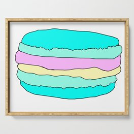 Green Blue Pink Yellow Pastel Macarons Graphic Vector Art Serving Tray