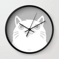 valentina Wall Clocks featuring Meow by Greg Abbott