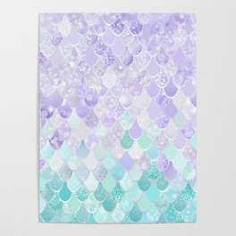 Mermaid Iridescent Purple and Teal Pattern Poster