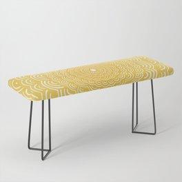 Spiral Mandala (Yellow Golden) Curve Round Rainbow Pattern Unique Minimalistic Vintage Zentangle Bench