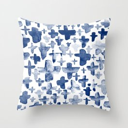 Navy Blue Crosses Throw Pillow