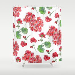 Red malvon pattern Shower Curtain