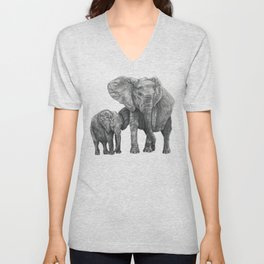 African Elephant and Calf Unisex V-Neck