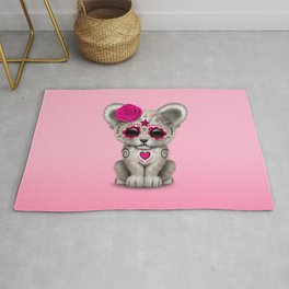 Pink Day of the Dead Sugar Skull White Lion Cub Rug