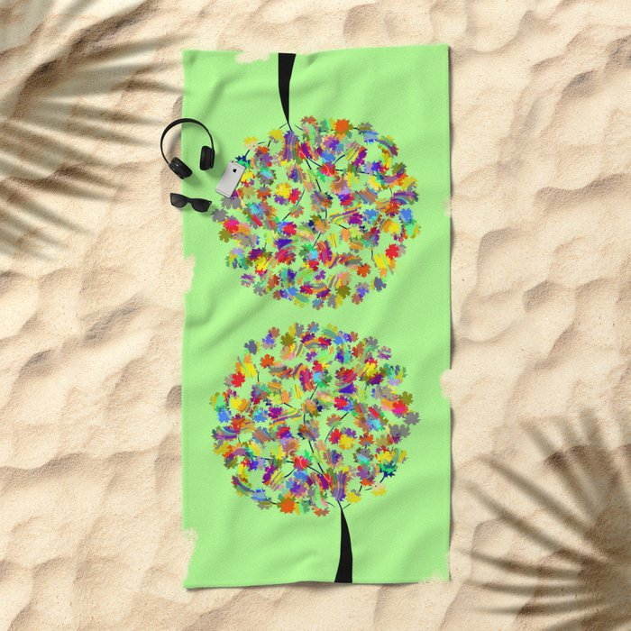 Tree of colors Beach Towel