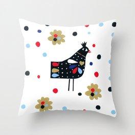 Folk Bird Throw Pillow