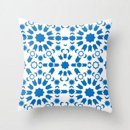 Blue Arabesque Throw Pillow