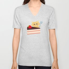 attern cute kawaii hamster with fresh Strawberry, cake decorated pink cream and chocolate Unisex V-Neck