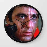 scarface Wall Clocks featuring Al Pacino @ Scarface #1 by Gabriel T Toro