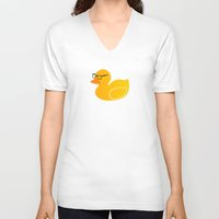 duck V-neck T-shirts featuring Duck by Studio14