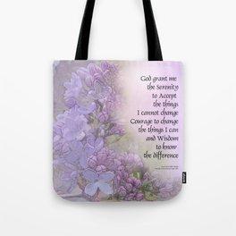 Serenity Prayer Lilacs Tote Bag
