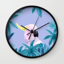 Cockatoo with tropical leaves and a violet background Wall Clock