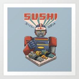 Super Sushi Robot Art Print