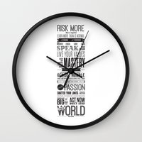 motivational Wall Clocks featuring Lab No. 4 - Robin Sharma Motivational Quotes Poster by Lab No. 4