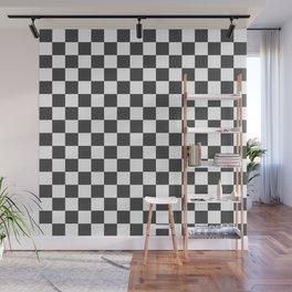 Gingham Dark Slate Grey Checked Pattern Wall Mural