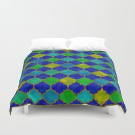 Ocean Breeze -Watercolor Moroccan Lattice Duvet Cover