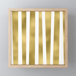 Gold unequal stripes on clear white - vertical pattern Framed Mini Art Print