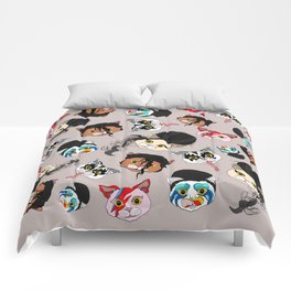 Pop Cats - Pattern French Gray Grey Comforters
