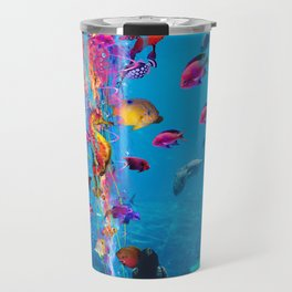 Electric Jellyfish in a Aquarium Travel Mug