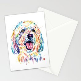 Goldendoodle, Golden Doodle - Dog Portrait Watercolor Painting Stationery Cards