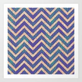 Blue and Green Texture-Look Chevron  Art Print