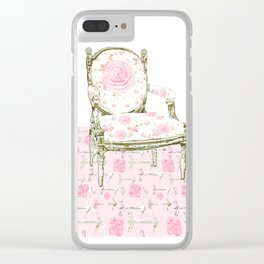 Shabby Chic Arrows Rug and French Chair Clear iPhone Case