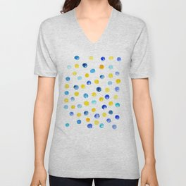 Blue and yellow marbles | Watercolor pattern Unisex V-Neck