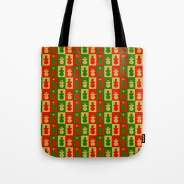 Red, golden and green snowmen Tote Bag