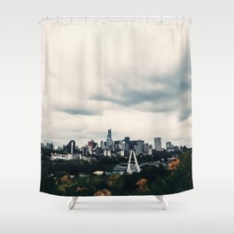 Edmonton Alberta, Digital Painting of a Very Cloudy Downtown just Before an Autumnal Storm Shower Curtain