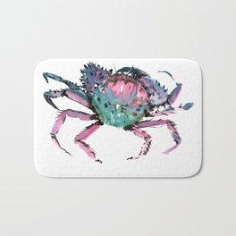 Crab Turquoise Blue Pink Crab Design Bath Mat