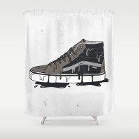 vans Shower Curtains featuring Vans Sk8-hi's by shoooes