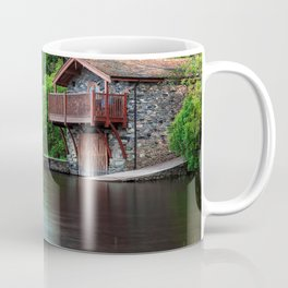 Smooth as Glass Lake and Boathouse Coffee Mug
