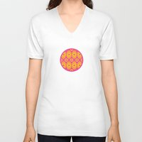 mod V-neck T-shirts featuring Mod Flowers by robyriker