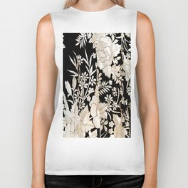 Black and White Flowers by Lika Ramati Biker Tank