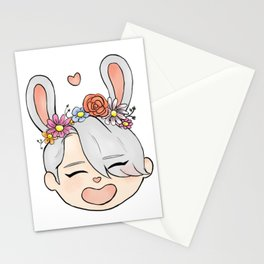 spring bunny victor Stationery Cards