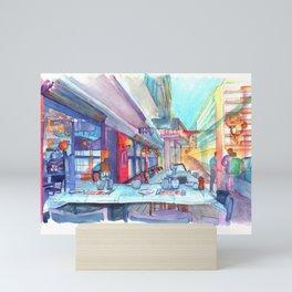 Cafe in the Knokke Mini Art Print