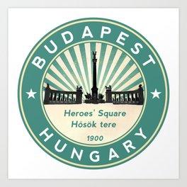 Budapest, Heroes' Square, Hosök tere, Hungary, circle, green Art Print