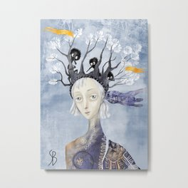 Little People on Her Head Metal Print
