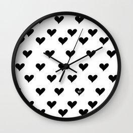 Retro Hearts Pattern Black White Wall Clock