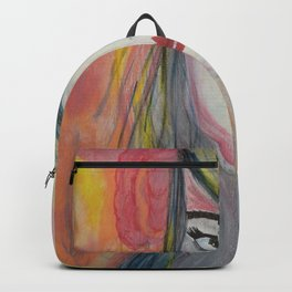 Pretty Girl. Yellow Pink and Green Girl Painting by Jodi Tomer. Figurative Abstract Pop Art. Backpack