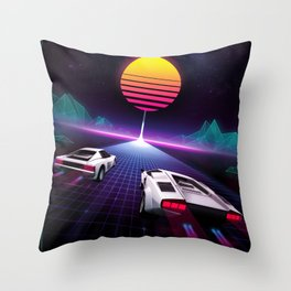 Neon Skyway Throw Pillow